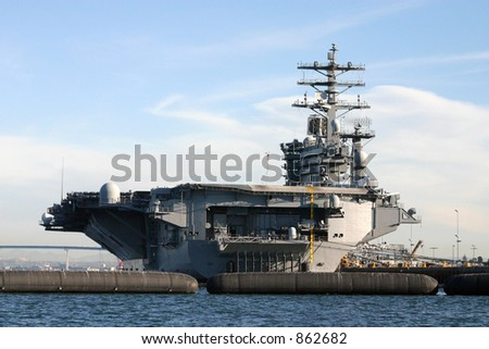 USS NIMITZ Aircraft Carrier Docked in San Diego.