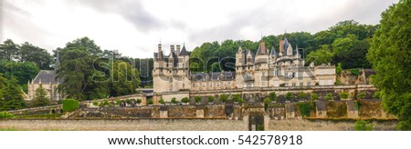 Ussai, France - June 10, 2014: Along the route of the castles on the Loire River, Chateau d'Ussai