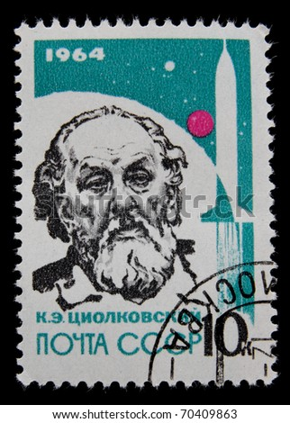 USSR - CIRCA 1964:A post stamp printed by Russia, shows portrait of Konstantin Tsiolkovsky, circa 1964.
