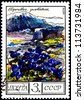 """USSR - CIRCA 1976: A Postage Stamp Shows Image of a Gentiana Flower with the Designation """"Gentiana Verna"""", circa 1976 - stock photo"""