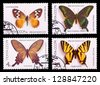 USSR - CIRCA 1987: A set of postage stamps printed in USSR shows butterflies, series, circa 1987 - stock photo