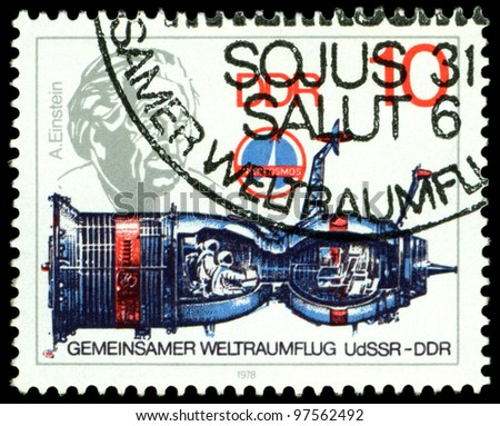 USSR - CIRCA 1978: a stamp printed by USSR  shows first German cosmonaut Sigmund Jahn, flight of the joint crew USSR - DDR  in space, series, circa 1978.