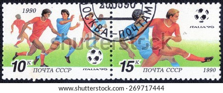 USSR - CIRCA 1990: a stamp printed by USSR shows. World football cup in Italy, series, circa 1990  - stock photo