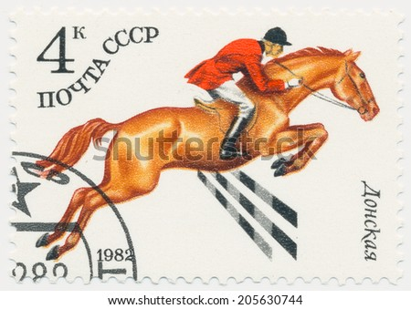 USSR - CIRCA 1982: A stamp printed in Russia shows Don horse breed, circa 1982 - stock photo