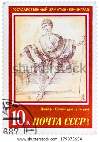 """USSR - CIRCA 1987: A stamp printed in the USSR, shows a painting artist Albrecht Durer """"Justice"""", circa 1987 - stock photo"""