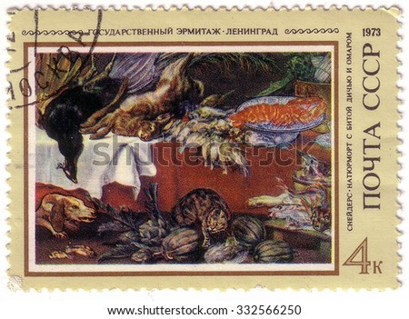 USSR - CIRCA 1973: A stamp printed in the USSR shows a picture of artist Frans Snyders - Still Life with Dead Game and lobsters, the State Hermitage Museum in Leningrad, about 1973 - stock photo