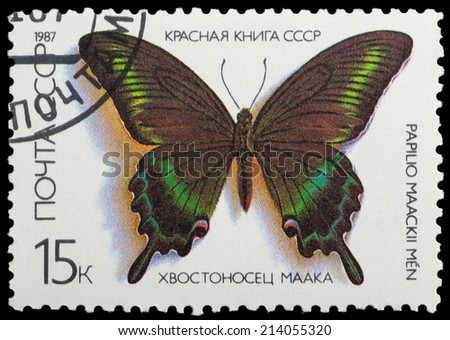 USSR - CIRCA 1987: A stamp printed in the USSR shows butterfly Hvostonosets Maak, series, circa 1987 - stock photo