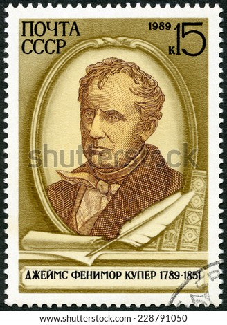 USSR - CIRCA 1989: A stamp printed in the USSR shows James Fenimore Cooper (1789-1851), American Novelist, circa 1989 - stock photo
