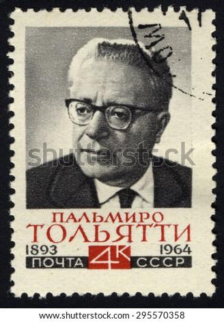 USSR - CIRCA 1964: A stamp printed in the USSR shows portrait Palmiro Togliatti - Italian communist leader, circa 1964 - stock photo