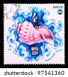 "USSR- CIRCA 1975: A stamp printed in the USSR shows sea royal shell ""Rapana"", arctic sea , series ""Oceanexpo 75 Emblem"", circa 1975 - stock photo"