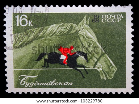USSR - CIRCA 1968: A stamp printed in USSR, horseback riding, equestrian sport, Budenny horse, circa 1968 - stock photo