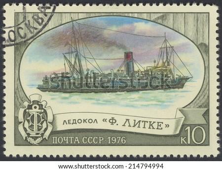 USSR -CIRCA 1976: A stamp printed in USSR, shows Fedor Litke, Icebreaker, circa 1976 - stock photo