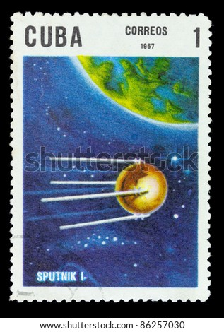 "USSR - CIRCA 1967: A stamp printed in USSR shows flight of first soviet spaceship ""Sputnik-1"", circa 1967 - stock photo"
