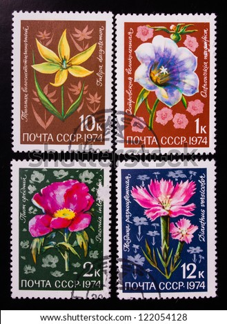 USSR - CIRCA 1974: A stamp printed in USSR shows flowers of different kinds, circa 1974. - stock photo