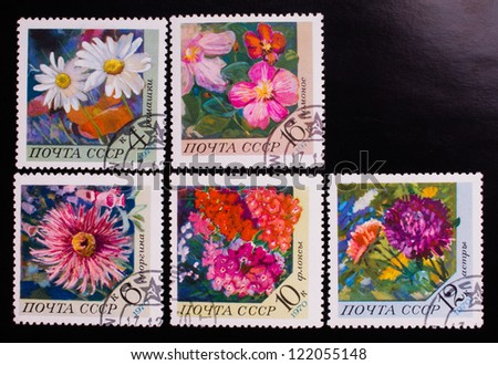 USSR- CIRCA 1970: A stamp printed in USSR shows flowers of different kinds, circa 1970. - stock photo