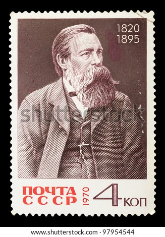 USSR - CIRCA 1970: A stamp printed in USSR shows portrait Friedrich Engels, series, circa 1970