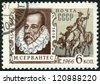 USSR - CIRCA 1966: A stamp printed in USSR shows portrait of Miguel de Cervantes Saavedra (1547-1616), Spanish writer, and Don Quixote, circa 1966 - stock photo