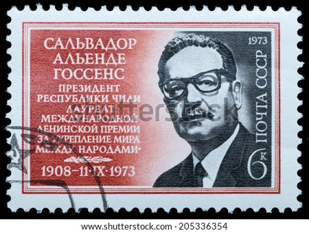 USSR - CIRCA 1973: A stamp printed in USSR shows Salvador Allende Goossens, President of Chile, circa 1973