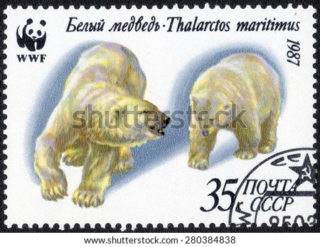 """USSR - CIRCA 1987: A stamp printed in USSR shows shows a series of images """"Polar Bears"""", circa 1987 - stock photo"""