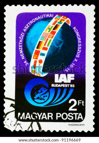 USSR - CIRCA 1983: An airmail stamp printed in USSR shows a space ship, series, circa 1983. - stock photo