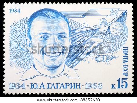 USSR - CIRCA 1984: An airmail stamp printed in USSR shows a spaceman:  U.Gagarin, series, circa 1984. - stock photo