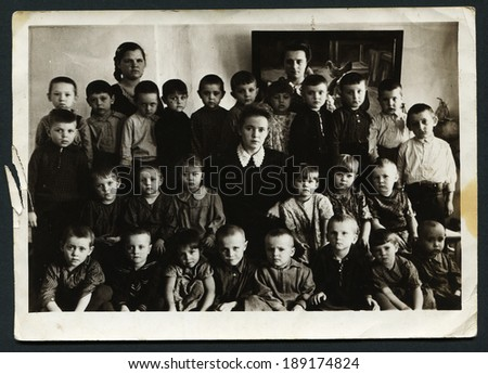 USSR - CIRCA 1970: An antique photo shows group portrait of schoolchildren - stock photo
