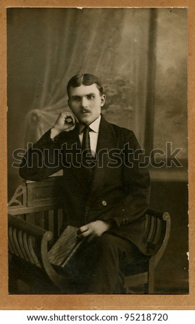 USSR - CIRCA 1927: An antique photo shows man in a business suit,  circa 1927