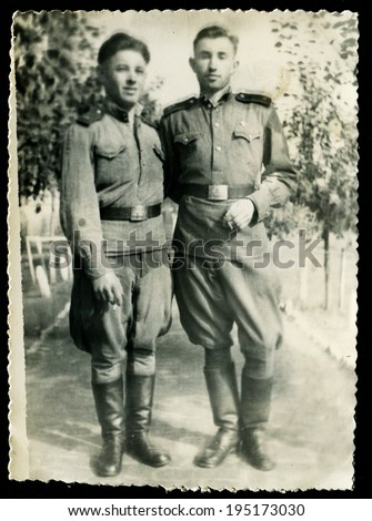 USSR - CIRCA 1953: An antique photo shows two solders