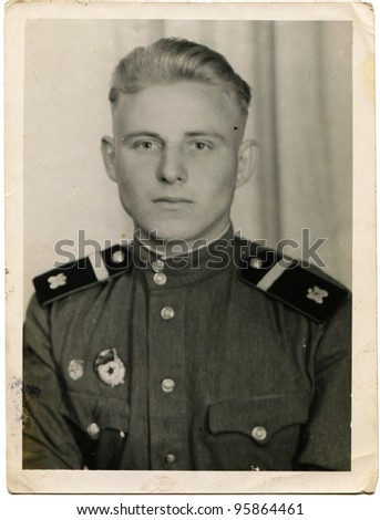 USSR - CIRCA 1952:  Guard sergeant of sapper troops of Soviet Army, circa 1952 - stock photo