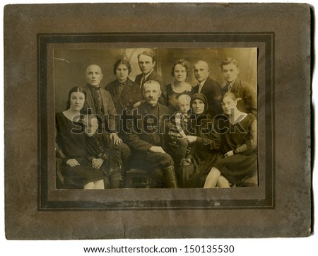 USSR - CIRCA May 10,1930: Antique photo shows studio portrait of big Family, May 10,1930 - stock photo
