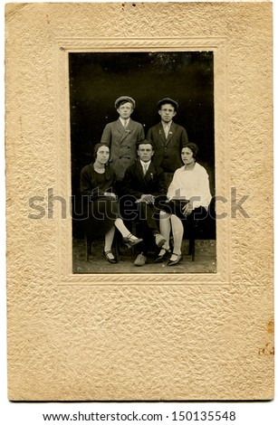 USSR - CIRCA May 25, 1930: Antique photo shows two women and three men, May 25, 1930 - stock photo