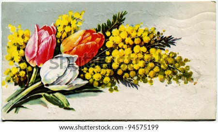 USSR  - CIRCA 1981: Postcard printed in the USSR shows draw by bouquet of tulips and mimosa,  circa 1981