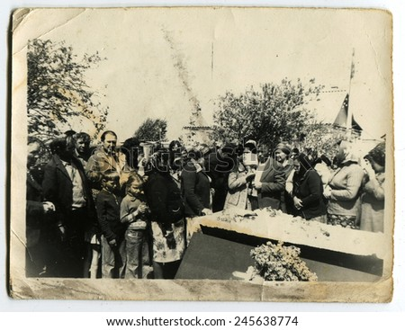 Ussr - CIRCA 1960s: An antique Black & White photo show funeral - stock photo