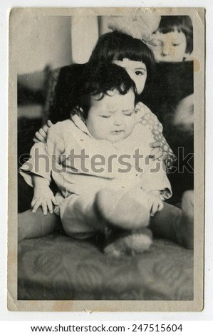 Ussr - CIRCA 1970s: An antique Black & White photo show two girls - stock photo