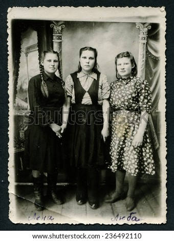 Ussr - CIRCA 1950s: An antique Black & White photo shows three young women