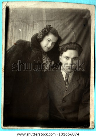USSR  - CIRCA 1954s: An antique photo shows brother and sister