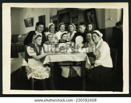 USSR - CIRCA 1970s: An antique photo shows corporate in the women's team, USSR, circa 1970s