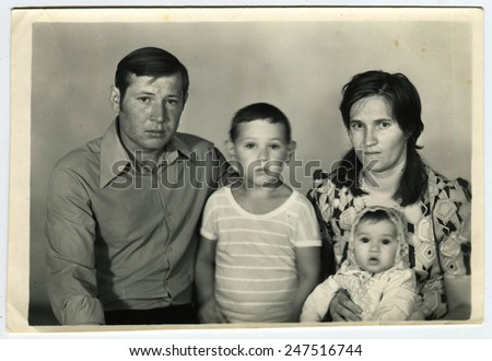 USSR - CIRCA 1970s: An antique photo shows family portrait