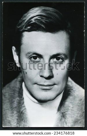 USSR - CIRCA 1970s: vintage photo of a beautiful man, circa 1970s - stock photo