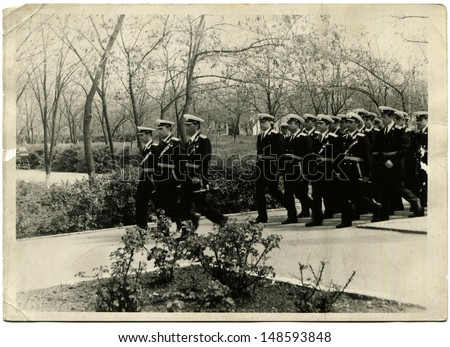 USSR - CIRCA 1970s:  Vintage photo shows Navy officers on parade, 1970s