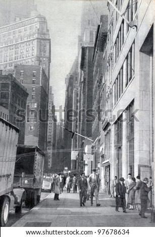 "USSR - CIRCA 1957: Soviet magazine ""Ogoniok"" shows photo of Wall Street in New York made by U. Gukov, publishing house ""Pravda"", i"