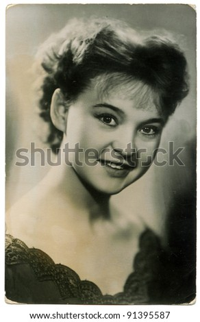USSR - CIRCA 1957: Soviet postcard shows Ludmila Gurchenko - Soviet and Russian film and stage actress, singer. People's Artist of the USSR. Winner of State Prize of the RSFSR. Vasilyev brothers