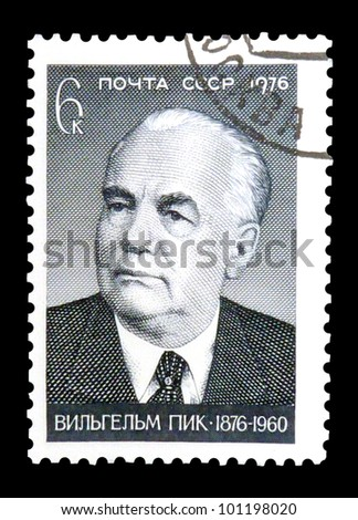 "USSR - CIRCA 1976: stamp printed in USSR shows portrait of Wilhelm Pieck - German politician with the inscription ""Wilhelm Pieck, 1876 - 1960"", series ""Birth Centenary of Wilhelm Pieck"", circa 1976"