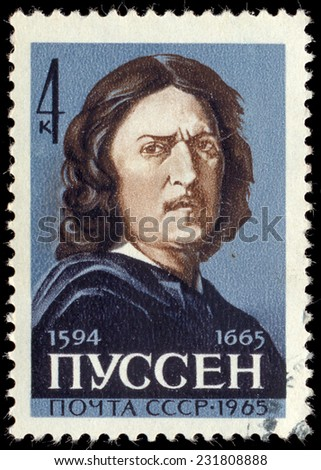 USSR - CIRCA 1965: The stamp printed in USSR shows the painter Pussen, circa 1965 - stock photo