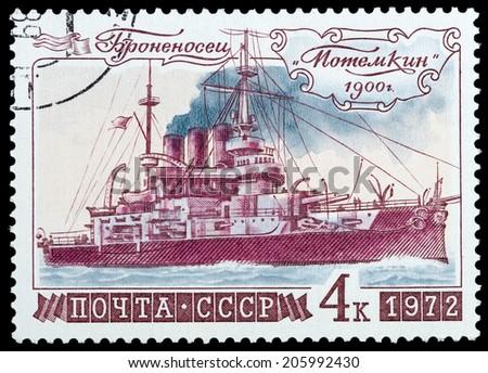 "USSR- Circa 1972: USSR stamp dedicated Battleship ""Potemkin"", circa 1972. - stock photo"