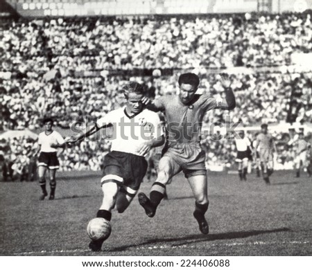 USSR - CIRCA 1951: Vintage photo shows soccer team, 1951 - stock photo