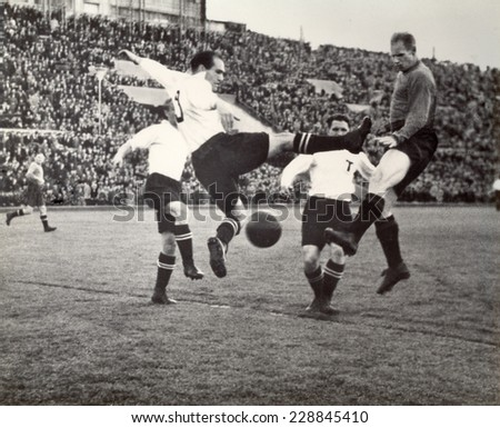 USSR - CIRCA 1950: Vintage photo shows soccer team, 1950
