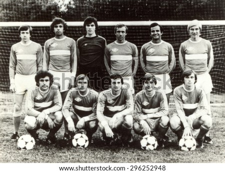 USSR - CIRCA 1970: Vintage photo shows soccer team, 1970 - stock photo
