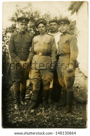 USSR - CIRCA 1942: Vintage photo shows three soviet  soldier and sailor, 1942