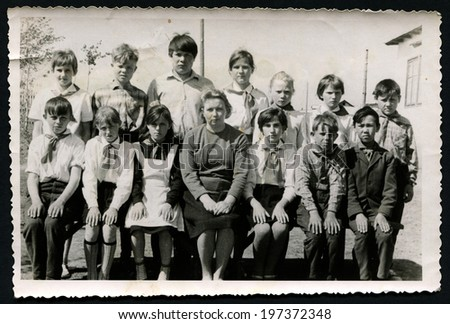 USSR, Petropavlovsk - CIRCA 1973: Vintage photo shows Group portrait of children Pioneers, 1973